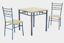 Dining Table Set Small Square Table Two Chairs Silver Metal Frame Beech Finish
