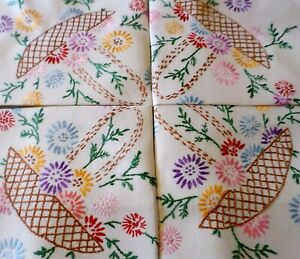 VINTAGE Tablecloth HAND EMBROIDERED Floral Baskets Trugs LINEN Floral Circle