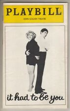 """It Had To Be You""   Playbill  1981   Renee Taylor & Joseph Bologna   BROADWAY"