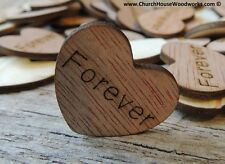 """100 qty 1"""" FOREVER Wood Hearts Table Confetti Wooden Wedding Decor Embellishment"""