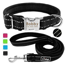Personalized Dog Collar Engraved Reflective Adjustable Nylon With Leash Padded