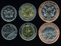 NIGERIA SET 3 COINS 50 KOBO 1 2 NAIRA 2006 UNC TWO BI-METALLIC COLOR