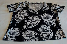 French Connection Ladies Monochrome Black White Short Sleeve Top Size 14 Large L