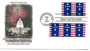 US Scott #4385, First Day Cover 2/24/09 Washington Plate #S111 Coil Banner