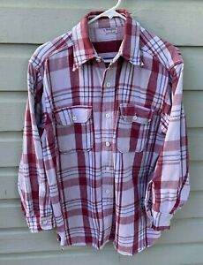 VTG 1950s Mansize Sanforized Plaid Reverse Print Flannel Shirt w Gussets Medium