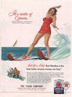 1953 Havoline PRINT AD Motor Oil Ill. Pin Up Lady Water Skiing Man Fishing Fun!!