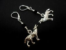 Themed Leverback Hook Earrings. New. A Pair Of Tibetan Silver Wolf