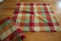 Unused Earth Tones Woven Plaid 100% Cotton 18 Inch Dinner Napkins Set of Eight