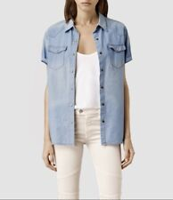 "*New ALLSAINTS ""MARA SHIRT"" LIGHT INDIGO SZ  ""0"" US (UK 4) NWT - ORIG $160.00!"