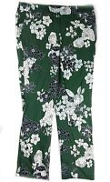 JL Jules & Leopold Floral Print Pull On Ankle Pants, Green Size S