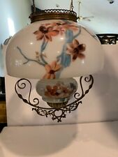 Original Hanging Oil Lamp Hand Painted Floral Victorian NICE! EARLY!
