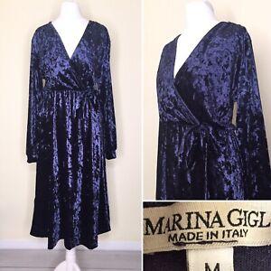 Dark Blue Velvet M Dress UK 10 12 Marina Gigli Long Sleeve Midi Faux Wrap Tie