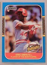 1987 Donruss Highlight Eric Davis Reds Baseball Card