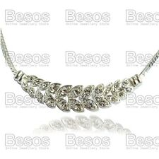 SPARKLING LEAVES collar NECKLACE choker SLINKY silver rhinestone