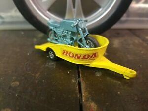 Matchbox #38 Honda Motorcycle and Trailer Yellow/Green 1970