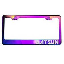 Polish Neo Neon Chrome License Plate Frame DATSUN Laser Etched Metal Screw Cap