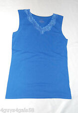 Womens Tank Top ROYAL BLUE V-NECK Lace Trim S 4-6