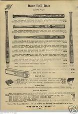 1912 PAPER AD Louisville Slugger Nap LaJoie Frank Chance Decal Baseball Bat Cobb