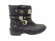 Black leather Chunky Motor cycle Biker Ankle boots gold stud straps & buckles 5