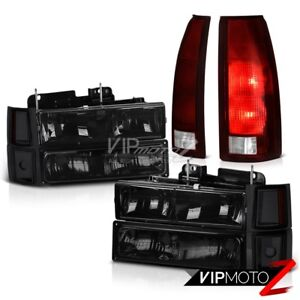 94 95 96 97 98 Chevy C1500 Smoked Red Taillamps 8Pcs Headlight Combo Oe Style