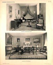 Chambre à coucher & Grand Salon meubles table lit époque Empire PLANCHE