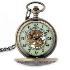 Luminous Face with Skeleton Case Mens Mechanical Hand Winding Pocket Watch