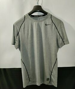 Nike Pro Dri Fit Mens M Fitted Gray& Black Athletic Poly Spandex Stretch T Shirt