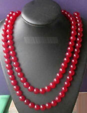 Natural Genuine 8mm Red Jade Beads Necklace 36'' JN1731