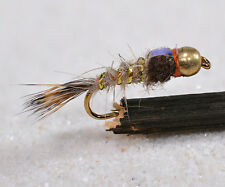 1 Doz Bh Gold Ribbed Hares Ear Fb Mayfly Nymph Flies - Mustad Signature Fly Hook
