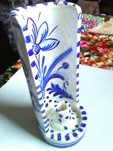 A charming Dutch blue Delft style ceramic candle holder.