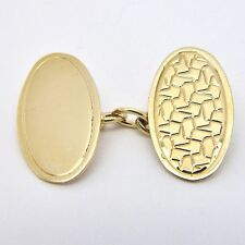 9ct Yellow Gold Vintage Engraved Cufflinks - Chain Link - 19 x 11mm