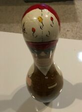 VINTAGE UNIQUE HAND PAINTED BOWLING PIN BY SUE 1989 FISHING MAN