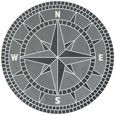 """48"""" Handcrafted Slate Tile Classic Compass Rose Mosaic Medallion Black & Gray"""
