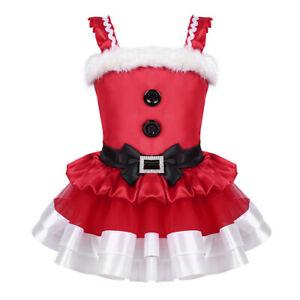 Kid Girls Christmas Costume Ruffled Faux Fur Bowknot Mesh Tutu Dress Santa Claus