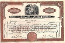 Stock certificate Mission Development Company (Paul Getty) Less Than 100 shares