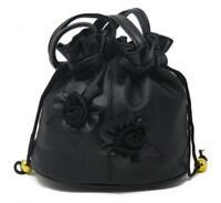 "Vallemosso Fashion Women's leather Purse Shoulder Bag Black Roses Smooth 7""x7"""