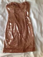 XXI Sequin Strapless Dress Gold TanClub Party Formal Dance Back Zip Size S~Small