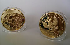 Russia Zodiac Dragon 100 Rubles Gold Plated Coin - Souvenir Craft 1Pcs
