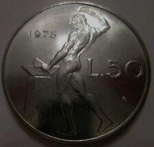 """50 LIRE 1975  II° CONIO RARA VARIANTE """" 7 CURVO E 5 LARGO E LUNGO"""" FIOR DI CONIO"""
