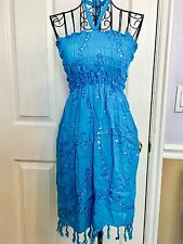 Women's Swim Cover Up Halter Maxi Dress Gathered Bodice Sequins Turquoise Sz S