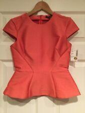 Zac Posen Shimmering Coral Orange Peplum Top, Size 4 NWT! $1,390