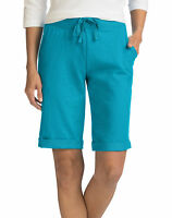 Hanes Bermuda Shorts Pockets Women's French Terry Drawstring Closure Activewear