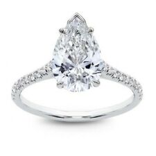 Platinum 1.20Ct D/SI1 Pear Shape Diamond Engagement Ring