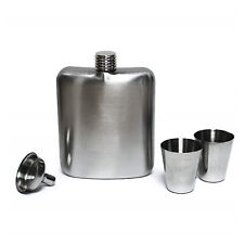 6Oz Stainless Steel Hip Flask Set With Funnel + 2 Shot Cups Ideal Gift Idea