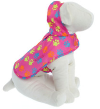 Pink Paw Print Dog Raincoat w/ Keychain Bag - LARGE - Water Resistant - NWT
