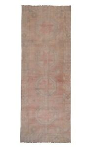 Muted Oushak Turkish Geometric Runner Rug Vegetable Dye Hand-Knotted 4.6 x 12.3