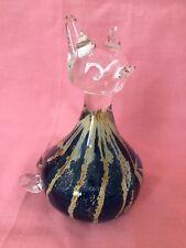 Signed Mtarfa Art Glass Cat Paperweight Blue & Yellow / Mustard Stripes