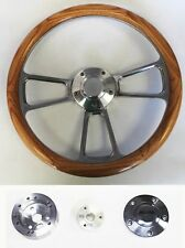 "76-95 Jeep Wrangler YJ CJ Cherokee Oak Wood and Billet Steering Wheel 14"""