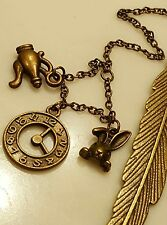 Antique Bronze Teapot Rabbit Bunny Alice in Wonderland Bookmark Jewelry Gift 2