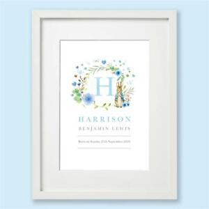 Peter Rabbit Personalised Blue Name Nursery Print Wall Art Gift Baby Boy